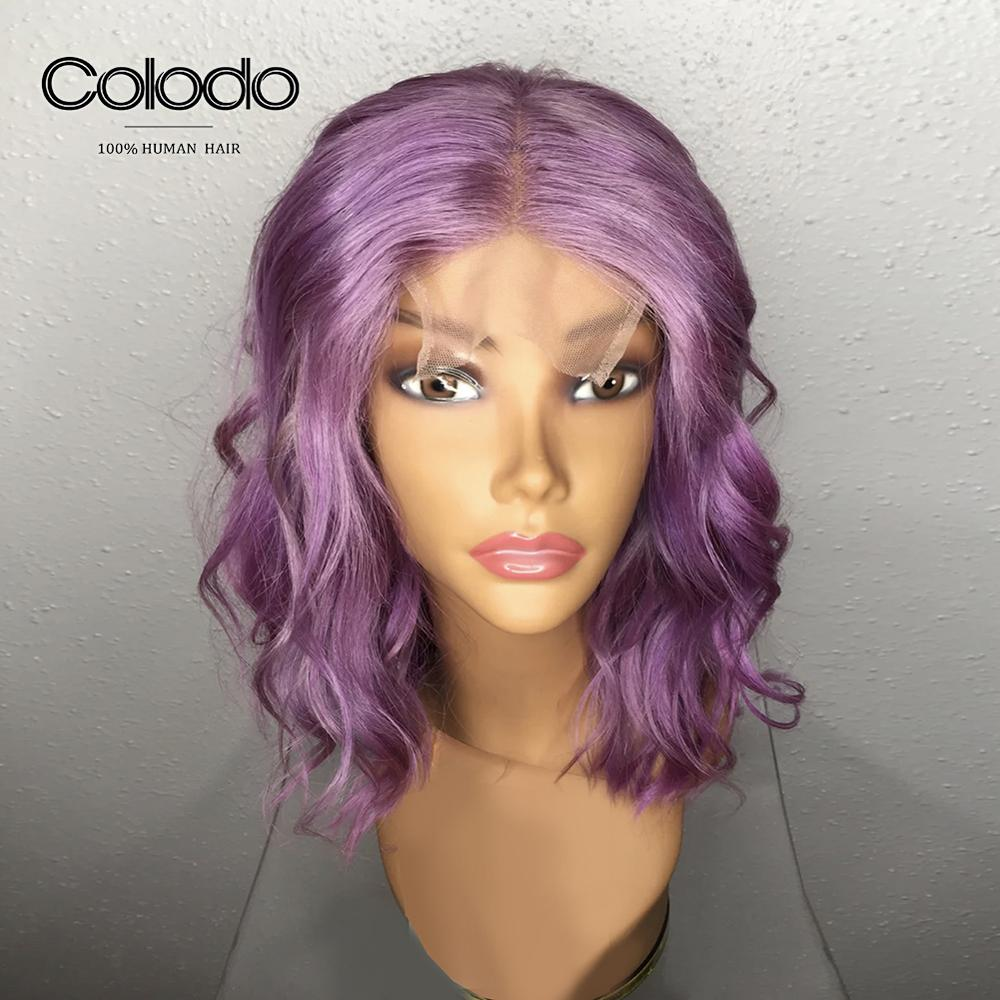 COLODO Lavender Purple 13x4 Loose Wave Wig 14inch Blue Bob Lace Front Wigs Pre Plucked 613 Lace Front Human Hair Wigs for Women-in Human Hair Lace Wigs from Hair Extensions & Wigs    1