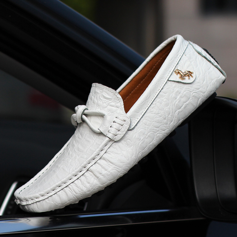 Men Loafers Driving Shoes Handmade Leather Mens Shoes Casual Luxury Brand Breathable Driving Shoes Slip On Man Moccasins White