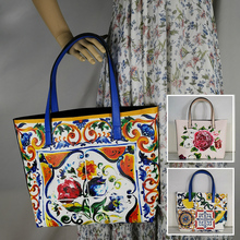 famous brand handbags luxury 2019 Ladies rose fashion largelarge tote bag italy Shoulder Bag Floral Textured