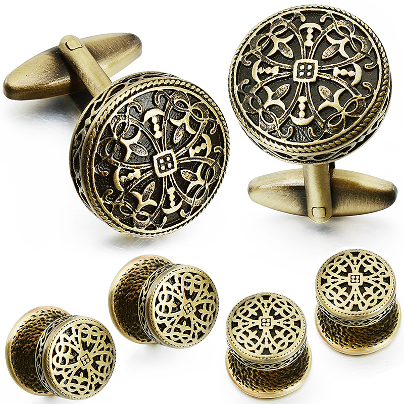 Image 4 - HAWSON Vintage Cufflinks and Tuxedo Shirt Studs for Men Retro Flower Pattern   Best Wedding Business Gifts for Men with Box-in Tie Clips & Cufflinks from Jewelry & Accessories