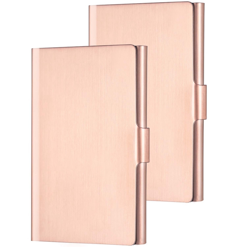 2 Pack Unisex Business Card Holder Stainless Steel Card Container Case For Credit Card Name Card ID Card