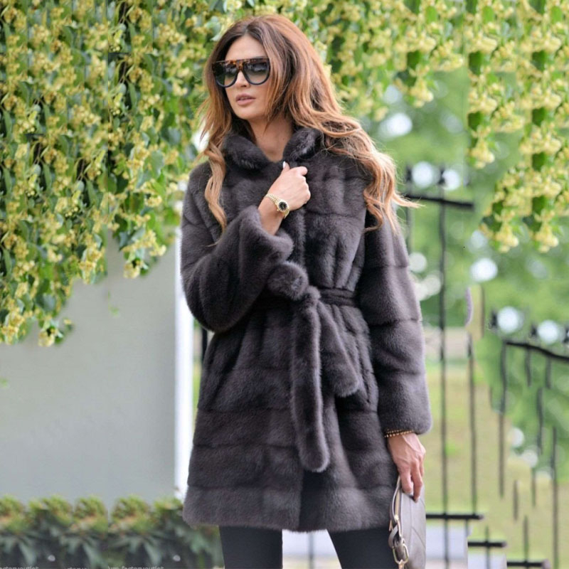 TOPFUR 2019 New Mink Fur Coat Women Long Soft Warm Gray Coats With Stand Collar Fashion Overcoat Free Shipping