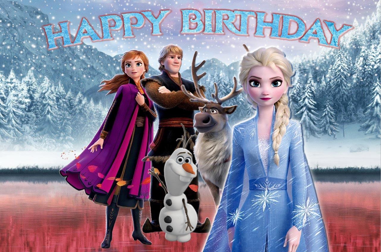 7x5ft New Frozen Happy Birthday Anna Princess Queen Elsa Olaf Sven Custom Photo Studio Background Backdrop Vinyl 220cm X 150cm Background Aliexpress