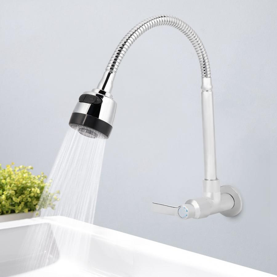 Kitchen Faucet G1/2inch Household Kitchen Single Cold Type Water 360 Degree Rotatable Wall Mount Faucet Faucet