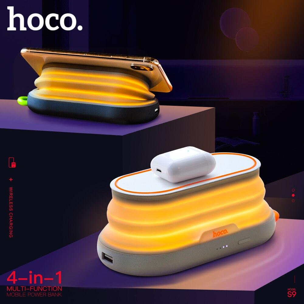 HOCO 4в1 многофункциональное Беспроводное зарядное устройство 5000 мАч QI с ночным освещением, держатель для телефона, внешний аккумулятор для iphone X XS