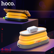 HOCO 4in1 Multi-function 5000mAh QI Wireless Charger Power Bank with Night light Phone holder External Powerbank for iphone X XS цена