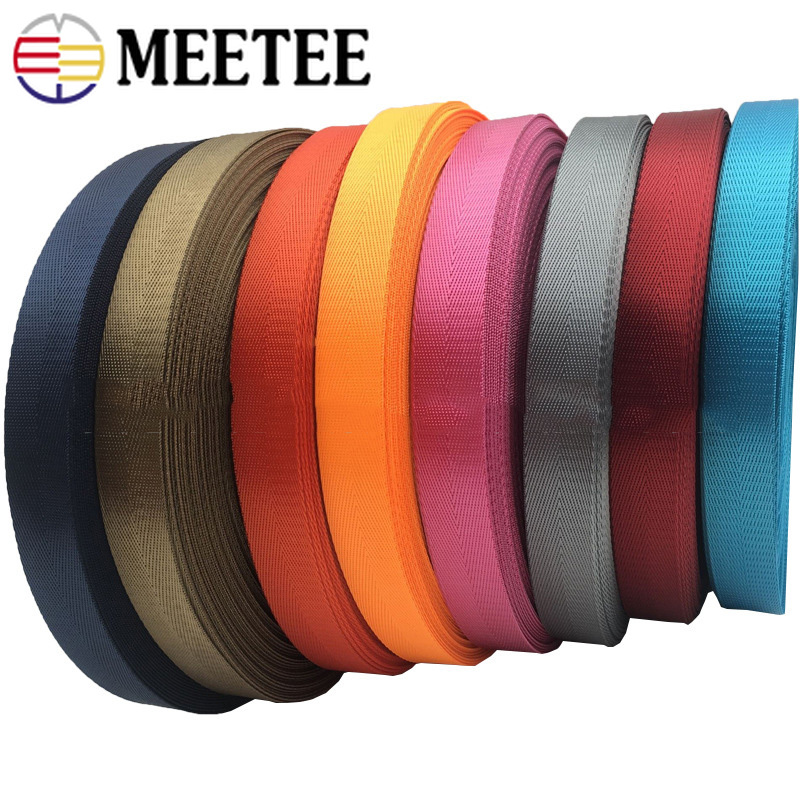 Image 4 - 1pc(50yards) 25mm High Quality Nylon Webbing Band Herringbone  Pattern Lace Tape Ribbon DIY Bag Strap Sewing Belt AccessoriesWebbing