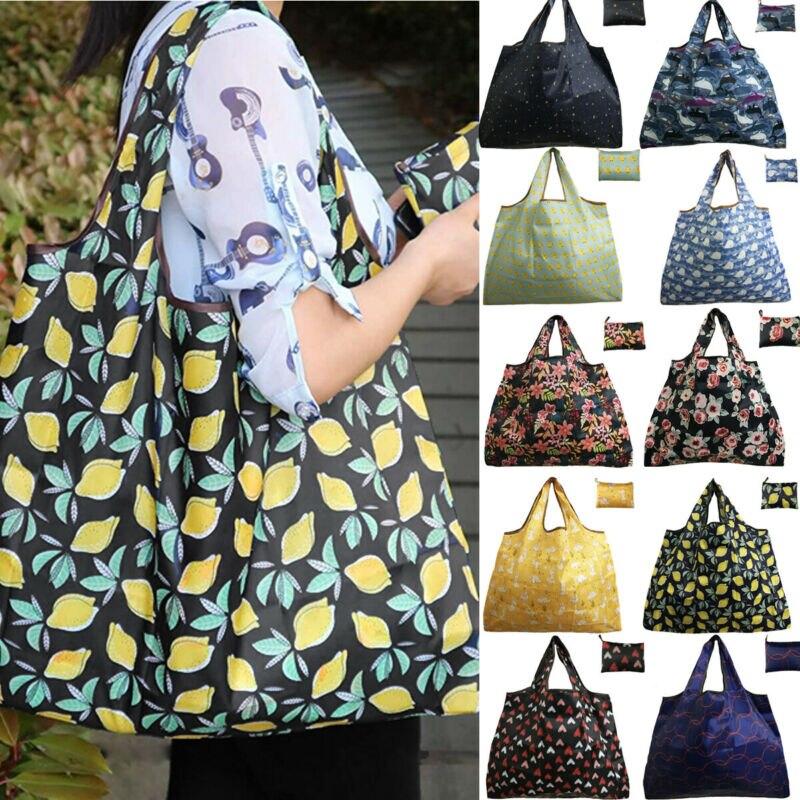 Magic Style Nylon Large Tote ECO Reusable Polyester Portable Shoulder Handbag Cartoon Green Folding Pouch Shopping Bag Foldable