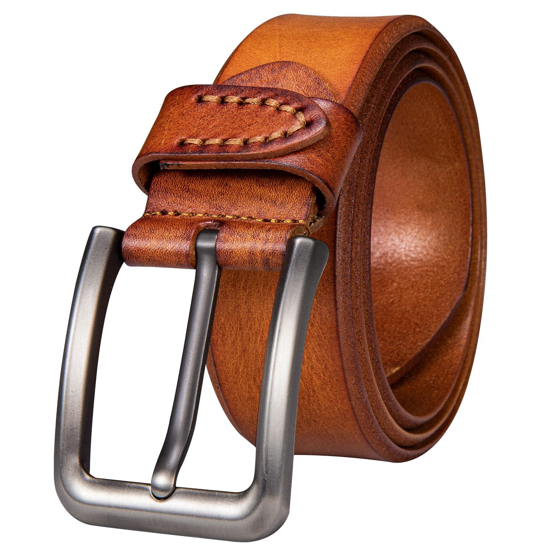 Hi-Tie Mens Leather Dress Belt with Single Prong Buckle Jeans Belts for Men