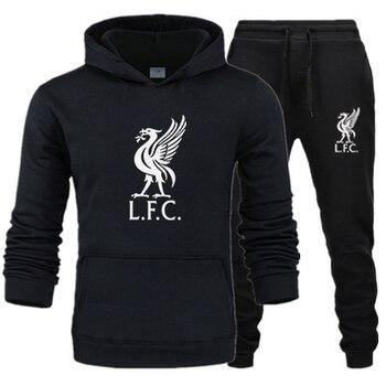2020 New Liverpool Fashion Men's Sportswear Casual Hooded Sportswear Suit Football Sportswear + Men's Hooded Sportswear