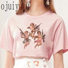Camiseta Angel para mujer nueva 2020 Harajuku Vintage camiseta femenina estética Kawaii Tumblr Grunge camiseta mujer Top Tee moda corta
