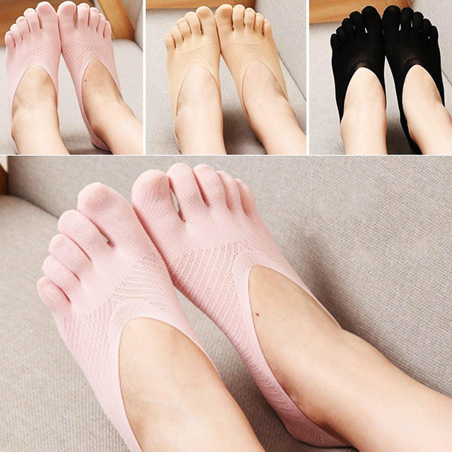1 Pair Five Finger Toe Socks Summer Style Thin Cotton Women  Solid Color Silicone Deodorant Ankle  Summer Dress Boat Sock