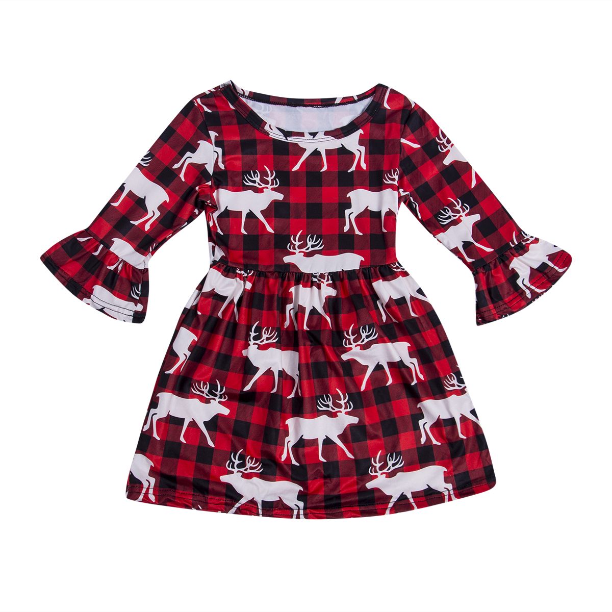 Xmas Toddler Baby Girls Dress Red Plaid Pattern Winter Checked Plaid Christmas Deer Long Sleeve Tutu Dresses Clothes