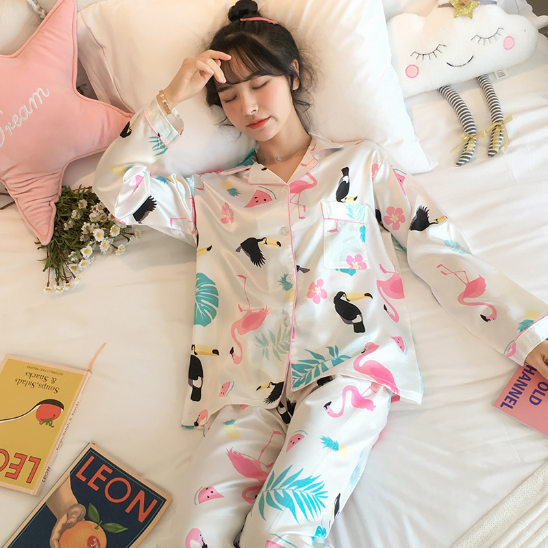 Pajamas Women's Spring And Autumn Long Sleeve Thin Cute Flamingo Viscose Two-Piece Set Silk Students Outer Wear Tracksuit