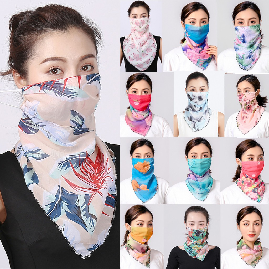 Fashion Women Sun Chiffon Protection Bacteria Proof Flu Face Mask Scarf Dustproof Neck Scarf Protective Mask#g3