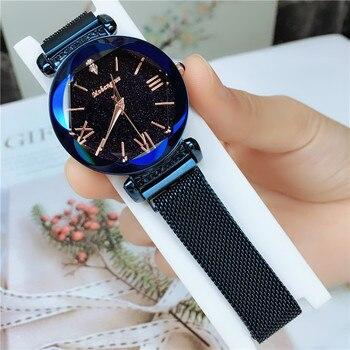 Luxury Women Watches 2020 Ladies Rose Gold Watch Starry Sky Magnetic Waterproof Female Wristwatch