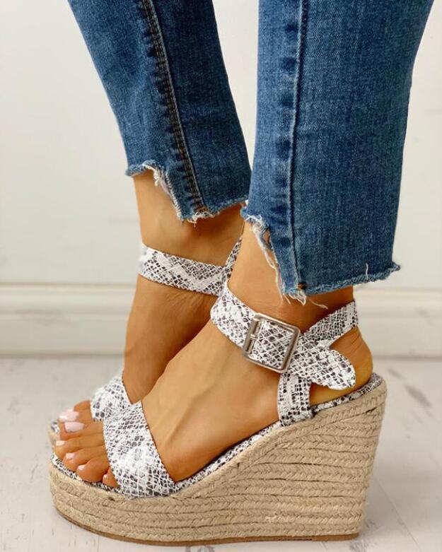 New 2020 Women Shoes Platform Sandals Women Peep Toe High Wedges Heel Ankle Buckles Sandalia Espadrilles Female Sandals Shoes