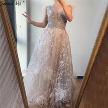 דובאי שמפניה V צוואר סקסי שמלות נשף 2020 נוצות קריסטל שרוולים לנשף שמלות 2020 Serene היל BLA70260