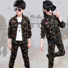 Boys Sportswear Clothing-Set Korean Kids Outfit Casual-Wear Children's Cotton Print Jacket