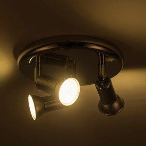 Image 4 - Lámpara Led giratoria montada en el techo, lámparas de araña LED ajustables para sala de estar, comedor, cocina, blanco y negro y plata