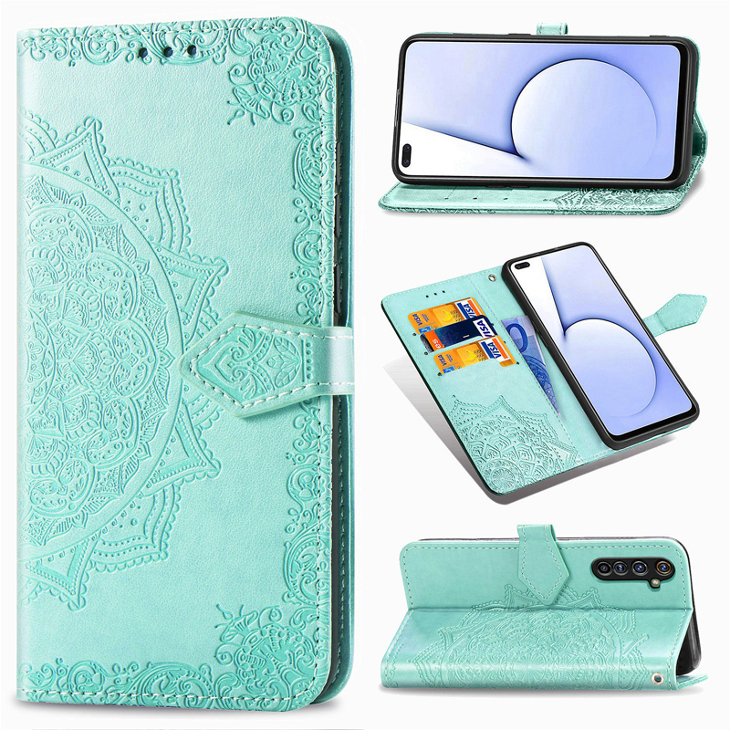 Leather Flip <font><b>Wallet</b></font> <font><b>Case</b></font> For <font><b>OPPO</b></font> Realme 5 5i 5S 6i 6 X50Pro C3 Reno 2 Z <font><b>A5</b></font> A8 A9 2020 A31 A91 F15 Find X2 Mandala <font><b>Wallet</b></font> <font><b>Case</b></font> image