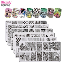 BeautyBigBang 6PCS/set Flower Love Design Nail stamping Plates Rectangle Pattern Stamping for nails Templates Art Tools