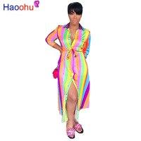 Rainbow Striped Shirt Maxi Dress Long Sleeve 2019 Fall Fashion Women Clothing Vestidos Casual Elegant Ladies Dresses