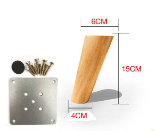 4Pieces/Lot H:15CM Diameter:4-6cm Nordic Oblique Sofa Wood Legs Solid Wood TV Cabinet Table Foots Feet