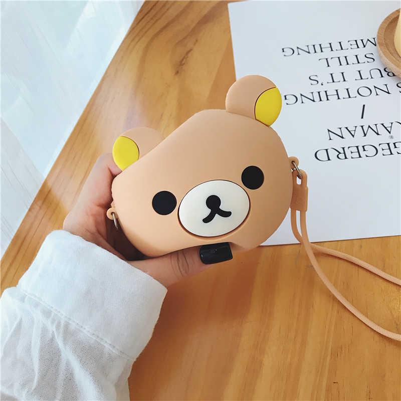 Pequeño monedero de silicona para mujer, bonito monedero a la moda para estudiantes, pequeño monedero de diseñador, caja de oso de peluche Kawaii