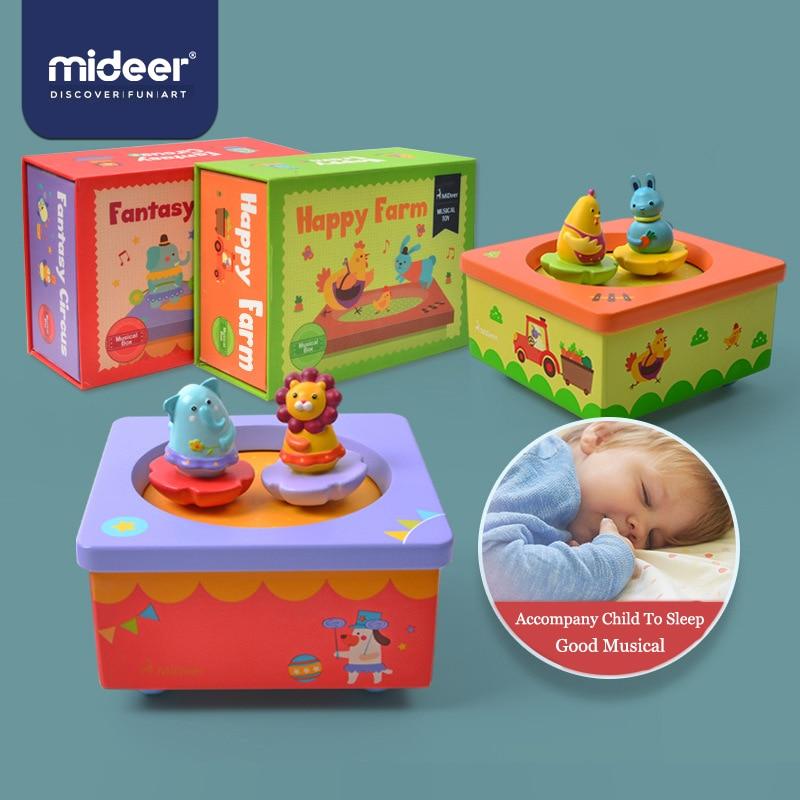 MiDeer Music Box Children Wooden Music Box Toy Clockwork Type  Cartoon Lion Kid Birthday Christmas Gift Toys For Children > 3Y