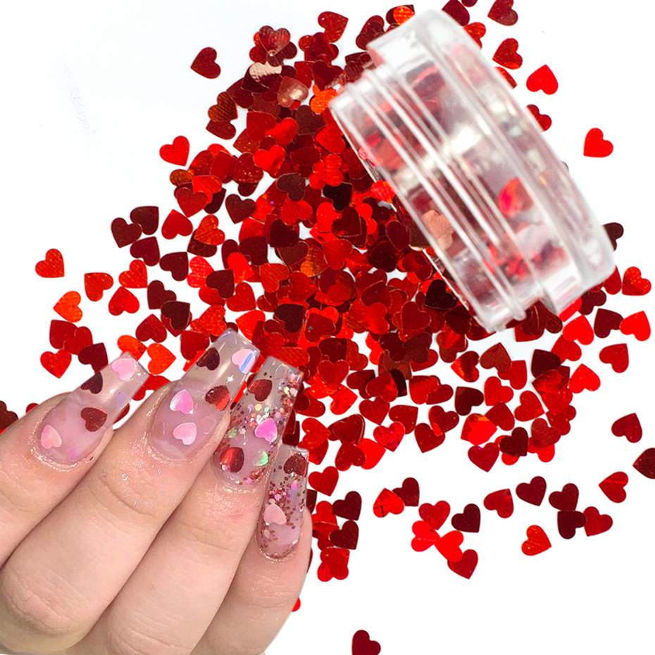 1Box Red Nail Glitter Flakes Love Heart Shape Slider Shining Sequin For Nail Art Paillette Manicure 3D Nail Decor LALB200-1000-1