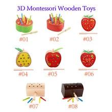 Деревянные игрушки Монтессори 3D, насекомые, червь, игра, Магнитная рыбалка, игры Монтессори, магнитные захваты, гусеница для детей, подарок н...