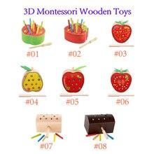 3d montessori brinquedos de madeira insetos worm jogo de pesca magnética montessori jogos capturas magnéticas caterpillar para o bebê presente natal