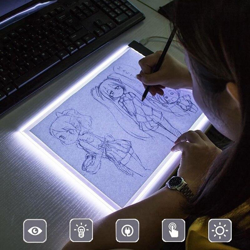 A4/a5 led placas de desenho placa de rastreamento cópia almofadas led desenho tablet placa arte mesa de escrita stepless escurecimento artcraft caixa de luz