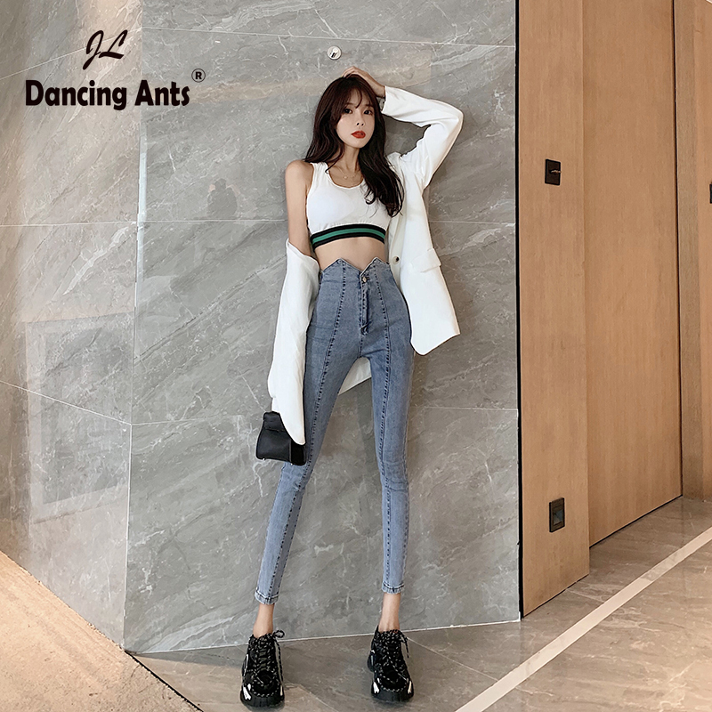 Women Jeans High Waist Skinny Slim Pencil Pants Korean Style Solid Pockets Office Lady Sexy Female Denim Ankle-length Trousers
