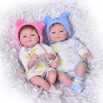 17'' Soft Silicone Vinyl Reborn Baby Doll Realistic Girl and Boy Twins Bebe Reborn Boneca  Collectible Birthday Gifts toy