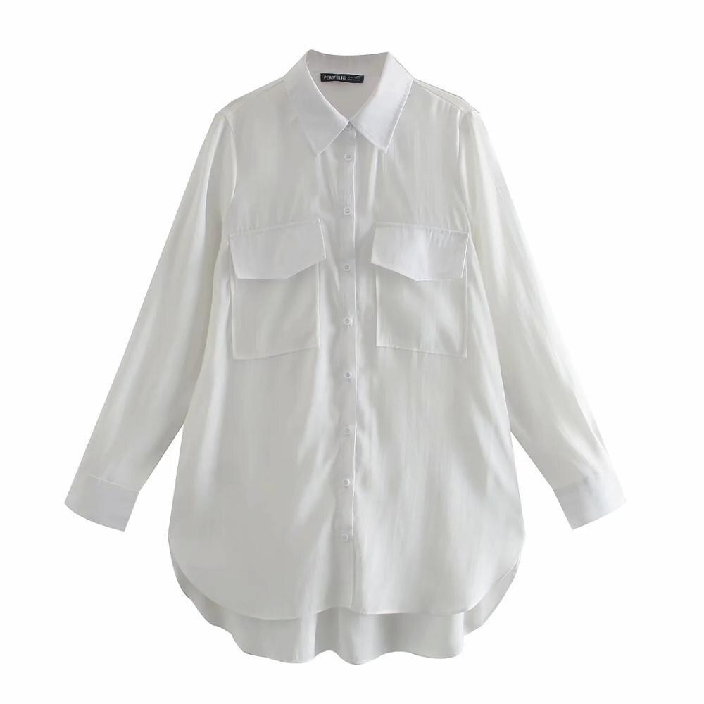 Купить xnwmnz za женская 2020 длинная рубашка с карманами повседневная