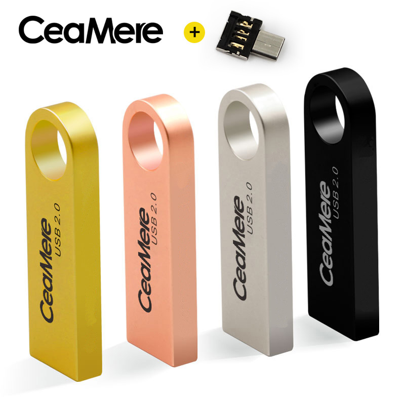 CeaMere C3 USB Flash Drive 8GB/16GB/32GB/64GB Pen Drive Pendrive USB 2.0 Flash Drive Memory Stick USB Disk 512MB 256MB Free OTG