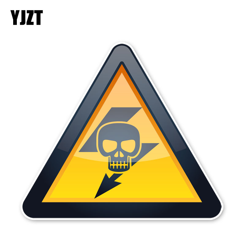 YJZT 12.6*14.3CM Pay Attention To The Electric Attention Security Warning Car Stickers Accessories C30-0489