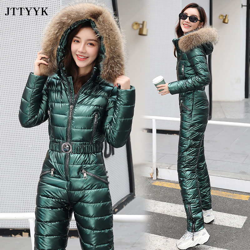 JTTYYK One Piece Ski Suit Women Winter Fur Hooded Jumpsuit Cotton Padded Sashes Parka Jumpsuits Zipper Overalls Tracksuits