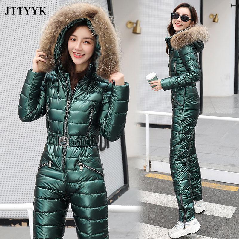 Uma peça terno de esqui das mulheres jaquetas de inverno com capuz parka macacão de algodão das mulheres faixas macacões com zíper