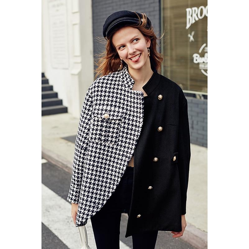 Image 5 - AEL Asymmetry Blazer casual Woollen jacket coat autumn winter  fashion swallow gird based ladies fashion wear 2019 newBlazers   -
