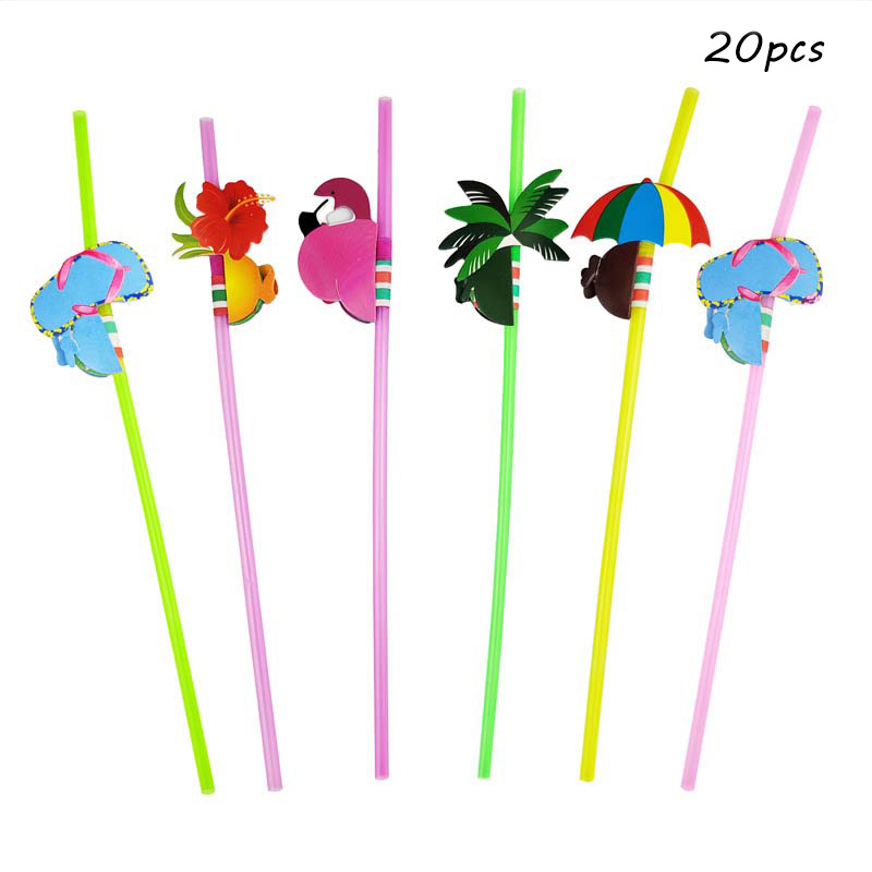 Image 4 - 20pcs Disposable Flamingo Pineapple Plastic Straws Fun Colorful Cocktail Drinking Straw Hawaii Summer Beach Luau Party Supplies-in Disposable Party Tableware from Home & Garden