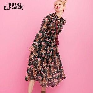 Image 1 - ELFSACK 花ヴィンテージの女性のドレス、 2019 秋の新アニマルプリント休日ドレスファッションバタフライスリーブの女性のパーティードレス