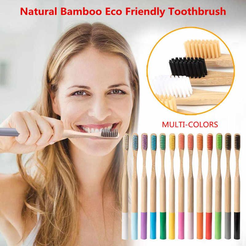 5 או 10 יח'\סט סביבתי במבוק סיבי מברשת שיניים בריאות פה נמוך פחמן בינוני רך זיפי עץ ידית מברשת שיניים