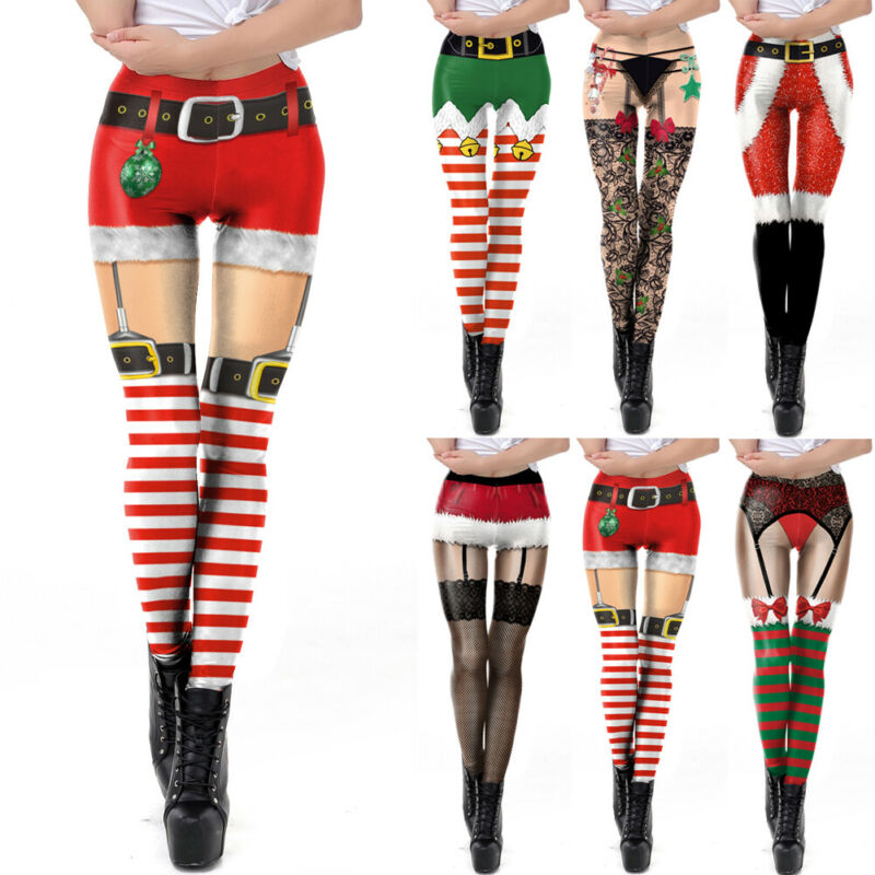 Women Xmas Christmas Leggings Stretch Hight Waist Striped Bow Lace Bell's Belt 3D Printing Pants Sports Trousers