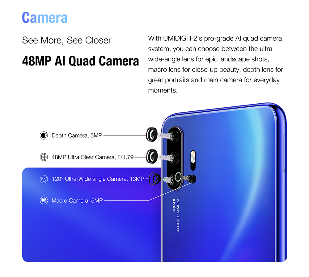 "He5879919e8ac4f9aa58e7b012cda95d5c Pre-sale UMIDIGI F2 Android 10 Global Version 6.53""FHD+6GB 128GB 48MP AI Quad Camera 32MP Selfie Helio P70 Cellphone 5150mAh NFC"