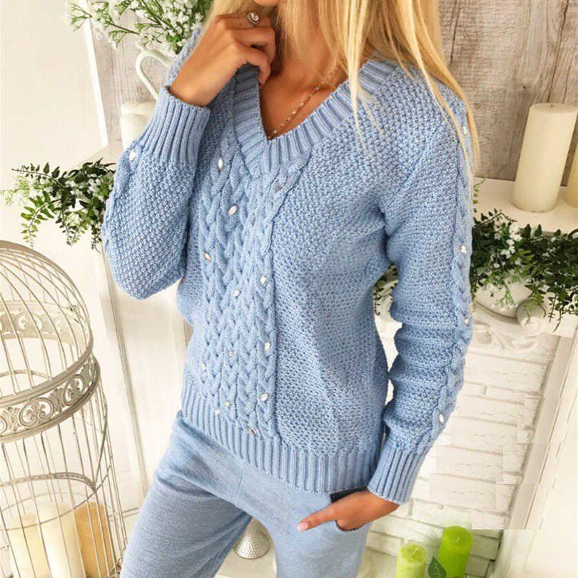 TAOVK damski sweter kombinezon diamentowy Twisted sweter z dekoltem typu v-neck sweter ze spodniami dzianinowy dwuczęściowy komplet