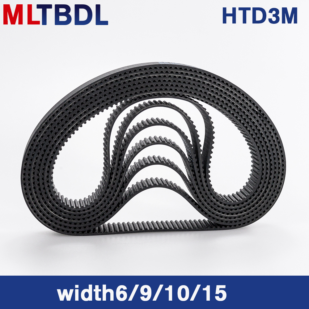 HTD 3M Timing Belt 180/183/186/189/192/195/198/201mm 6/9/10/15mm Width  RubbeToothed Belt Closed Loop Synchronous Belt Pitch 3mm