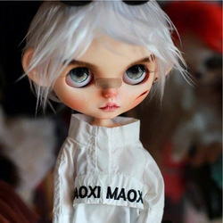 ICY 19 joint blyth doll with makeup face dark skin DIY The makeup doll with Sleep eyes Cool boy with white hair